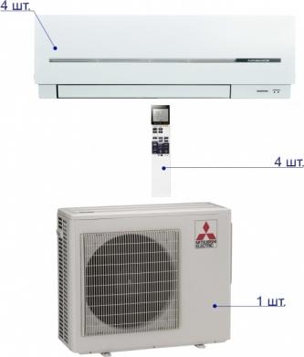 Mitsubishi Electric MXZ-4D83 VA/MSZ-SF25VE*4шт