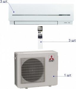 Mitsubishi Electric MXZ-3D68 VA/MSZ-SF25VE*3шт